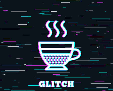 Glitch effect. Cafe creme icon. Hot drink sign. Beverage symbol. Background with colored lines. Vector