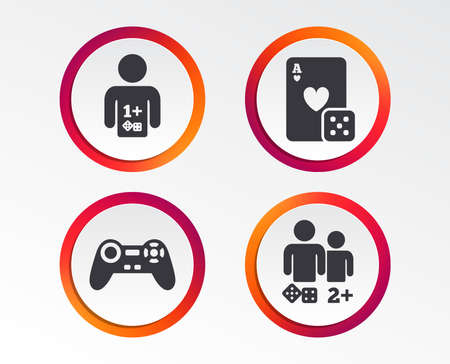 Gamer icons. Board games players signs. Video game joystick symbol. Casino playing card. Infographic design buttons. Circle templates. Vector Foto de archivo - 96848063