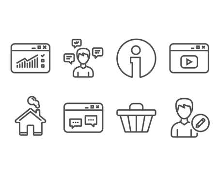 Set of Shop cart, Conversation messages and Web traffic icons. Browser window, Video content and Edit person signs. Web buying, Communication, Website window. Website chat, Change user info. Vector