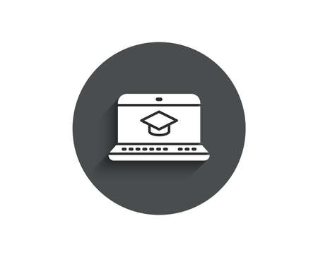 Online Education simple icon. Notebook or Laptop sign. Graduation cap symbol. Circle flat button with shadow. Vector