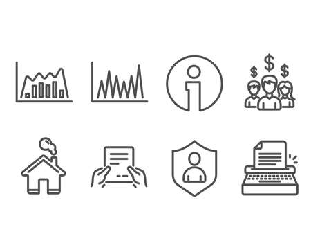 Set of Line graph, Infographic graph and Receive file icons. Salary employees, Security and Typewriter signs. Market diagram, Line diagram, Hold document. Vector