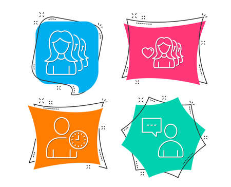 Set of Woman love, Time management and Women headhunting icons. Users chat sign. Romantic people, User with clock, Women teamwork. Communication concept.  Flat geometric colored tags. Vivid banners Ilustração