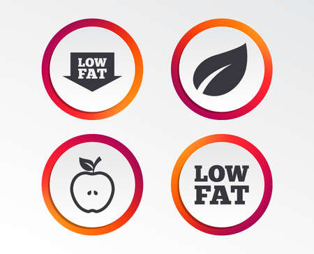 Low fat arrow icons. Diets and vegetarian food signs. Apple with leaf symbol. Infographic design buttons. Circle templates. Vector