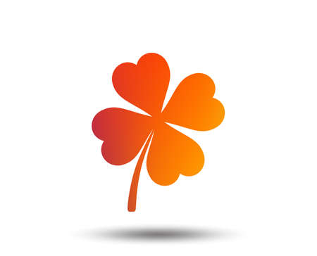 Clover with four leaves sign icon. Saint Patrick symbol. Blurred gradient design element. Vivid graphic flat icon. Vector Illustration