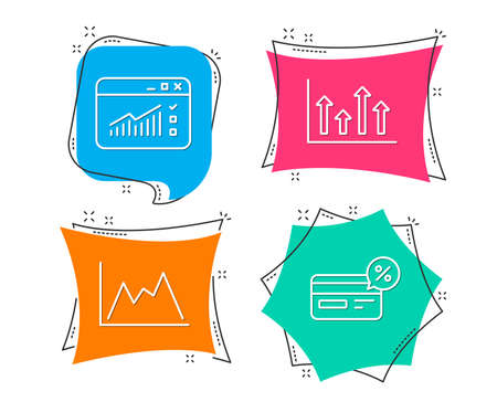 Set of Upper arrows, Web traffic and Diagram icons. Cashback sign. Growth infochart, Website window, Growth graph. Non-cash payment.  Flat geometric colored tags. Vivid banners. Trendy graphic design