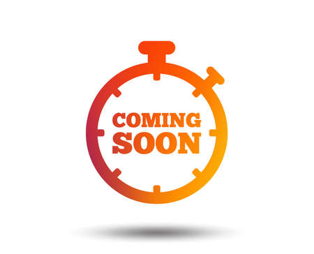 Coming soon sign icon. Promotion announcement symbol. Blurred gradient design element. Vivid graphic flat icon. Vector Stock Illustratie