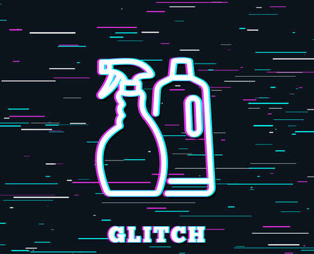 Glitch effect. Cleaning spray and Shampoo line icon. Washing liquid or Cleanser symbol.