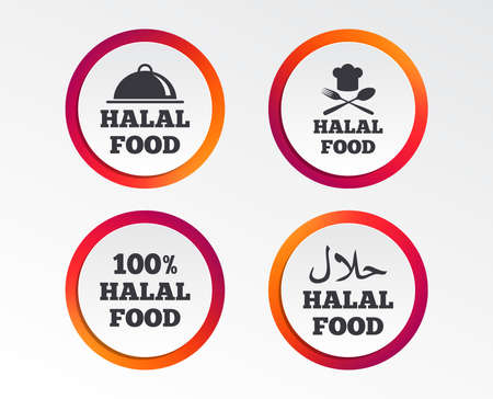 Halal Food Icons 100 Natural Meal Symbols Chef Hat With Spoon
