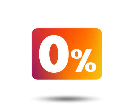 Zero percent sign icon. Zero credit symbol. Best offer. Blurred gradient design element. Vivid graphic flat icon. Vector