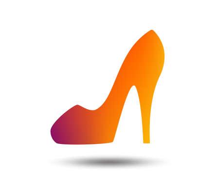 Women sign. Womens shoe icon. High heels shoe symbol. Blurred gradient design element. Vivid graphic flat icon. Vector