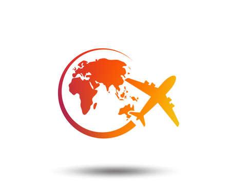 Airplane sign icon. Travel trip round the world symbol. Blurred gradient design element.