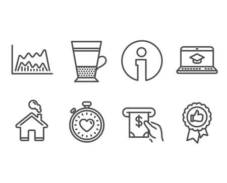 Set of Heartbeat timer, Double latte and Atm service icons. Trade chart, Website education and Positive feedback signs. Love stopwatch, Tea cup, Cash investment. Vector Çizim