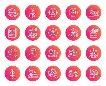 Human Resources line icons. Set of Business Networking, Job Interview and Head Hunting signs. CV, Teamwork and Portfolio symbols. Trendy gradient circle buttons. Quality design elements. Vector Illustration