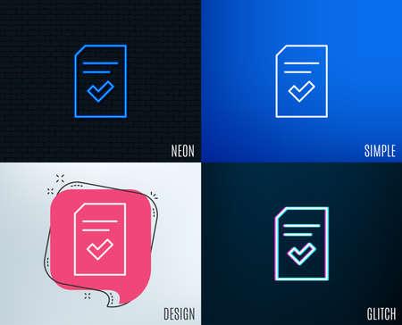 Glitch-Neon-Effekt. Aktiviertes Symbol für Dokumentzeile. Informationsdatei mit Prüfzeichen. Korrektes Papierseitenkonzeptsymbol. Trendy flache geometrische Designs. Vektor Standard-Bild - 96847426