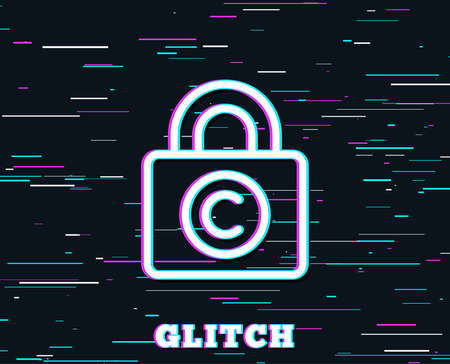 Glitch effect of Copyright locker line icon. Copywriting sign. Private Information symbol. Background with colored lines. Vector