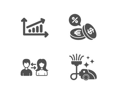 Set of Chart, People communication Currency exchange icons and Vacuum cleaner sign. Presentation chart, People talking, Euro and usd. Illustration