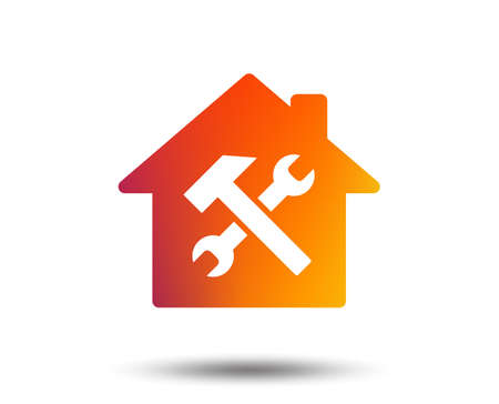 Service house. Repair tool sign icon. Service symbol. Hammer with wrench. Blurred gradient design element. Vivid graphic flat icon. Vector