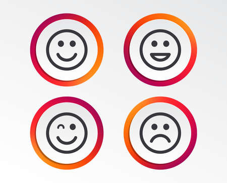 Smile icons. Happy, sad and wink faces symbol. Laughing lol smiley signs. Infographic design buttons. Circle templates. Vector