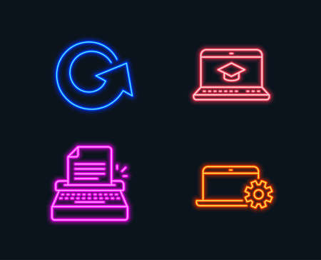 Neon lights. Set of Typewriter, Website education and Reload icons. Notebook service sign. Writer machine, Video learning, Update. Computer repair.  Glowing graphic designs. Vector