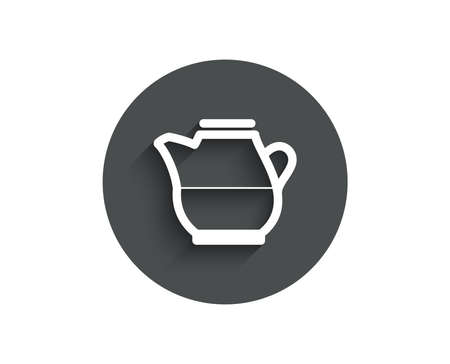 Milk jug for coffee icon. Fresh drink sign. Beverage symbol. Circle flat button with shadow. Vector