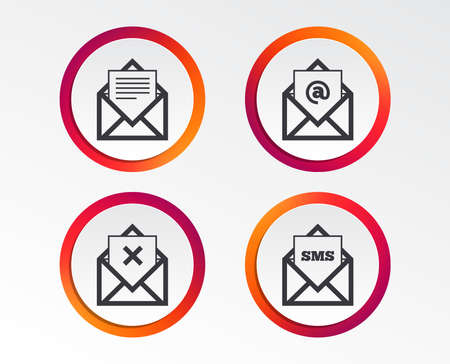 Mail envelope icons. Message document symbols. Post office letter signs. Delete mail and SMS message. Infographic design buttons. Circle templates. Vector Иллюстрация