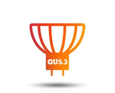 Light bulb icon. Lamp GU5.3 socket symbol. Led or halogen light sign. Blurred gradient design element. Vivid graphic flat icon. Vector Reklamní fotografie - 96848171
