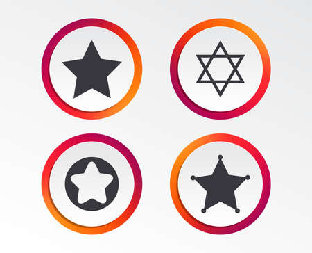 Star of David,  Sheriff police sign and Symbol of Israel. Infographic design buttons. Circle templates. Vector