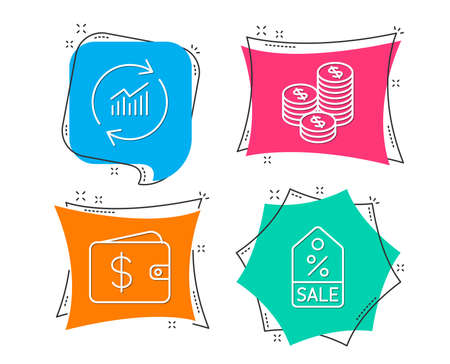 Set of Update data, Coins and Dollar wallet icons. Sale coupon sign. Sales statistics, Cash money, Discount tag.  Flat geometric colored tags. Vivid banners. Trendy graphic design. Vector