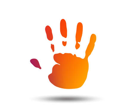 Hand print sign icon. Stop symbol. Blurred gradient design element. Vivid graphic flat icon. Vector Vectores