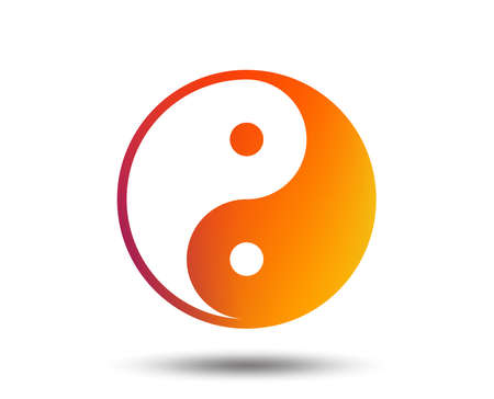 Ying yang sign icon. Harmony and balance symbol. Blurred gradient design element. Vivid graphic flat icon. Vector Ilustração