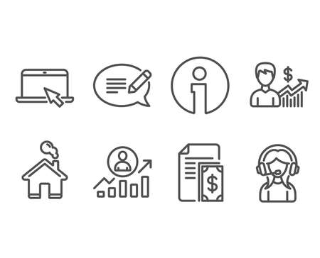 Set of Portable computer, Message and Payment icons. Business growth, ?areer ladder and Support signs. Notebook device, Speech bubble, Cash money. Earnings results, Manager results, Call center