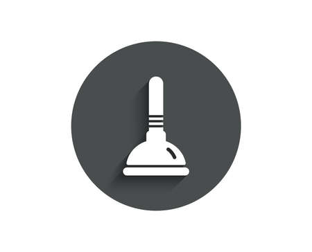 Cleaning plunger simple icon. Ð¡leaning of pipe clogs symbol. Housekeeping equipment sign. Vettoriali