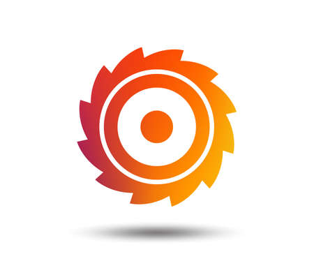 Saw circular wheel sign icon. Cutting blade symbol. Blurred gradient design element.