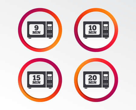 Microwave oven icons. Cook in electric stove symbols.  Infographic design buttons. Illustration
