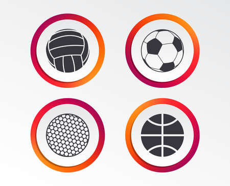 Sport balls icons. Volleyball, Basketball, Soccer and Golf signs. Team sport games.