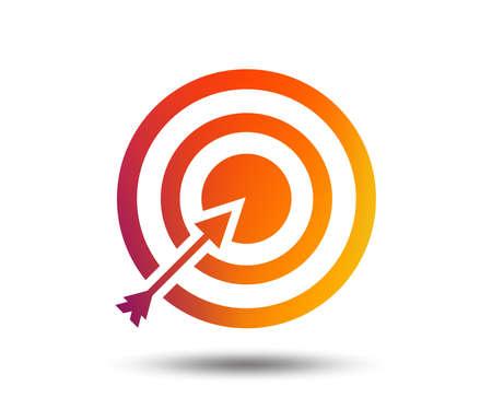 Target aim sign icon. Darts board with arrow symbol. Blurred gradient design element. Illustration