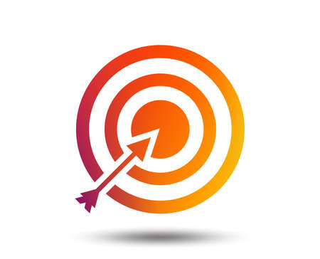 Target aim sign icon. Darts board with arrow symbol. Blurred gradient design element. 向量圖像