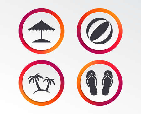 Beach holidays icons. Ball, umbrella and flip-flops sandals signs. Palm trees symbol.