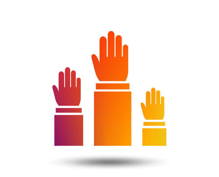 Election or voting sign icon. Hands raised up symbol. People referendum. Blurred gradient design element. Stock Vector - 97277178