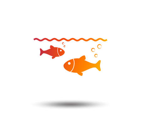 Fish in water sign icon. Fishing symbol. Blurred gradient design element. Ilustração