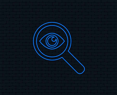 Magnifying glass with eye symbol. Glowing graphic design. Illustration