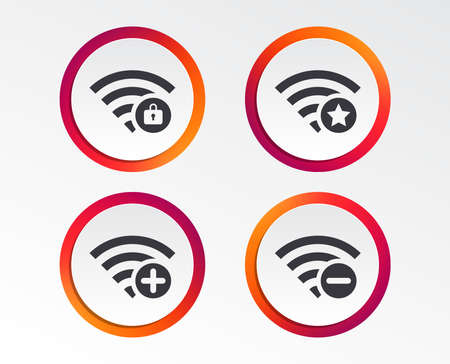 Wireless Network icons. Wireless network zone add or remove symbols.
