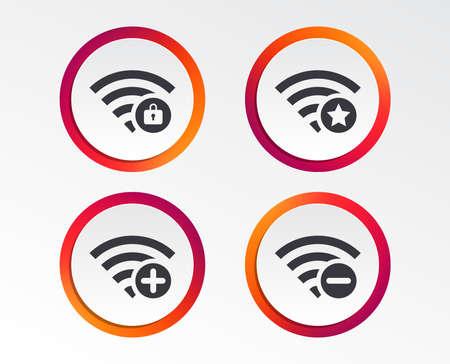 Wireless Network icons. Wireless network zone add or remove symbols.