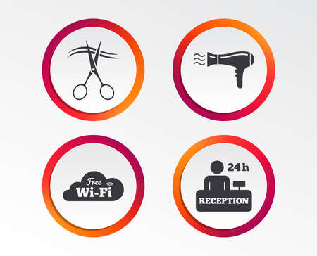 Hotel services icons.  Hairdryer in room signs, Wireless Network, Hairdresser or barbershop symbol, Reception registration table. 向量圖像