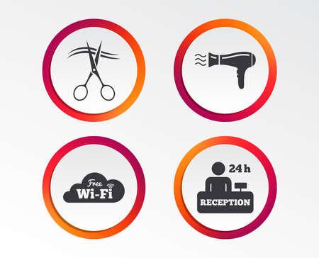 Icônes de services hôteliers. Sèche-cheveux dans les panneaux de la chambre, réseau sans fil, symbole du coiffeur ou du salon de coiffure, table d'inscription de la réception. Banque d'images - 97215335