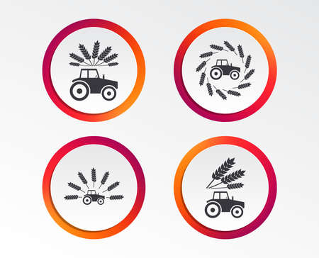 Tractor icons, Wreath of Wheat corn signs, Agricultural industry transport symbols. Archivio Fotografico - 97215336