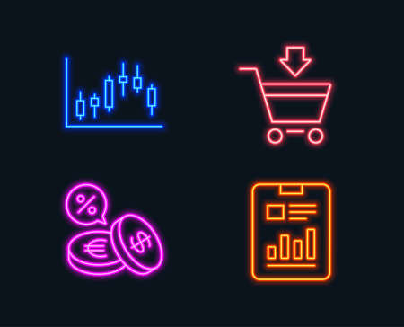 Neon lights for Set of Candlestick graph, Online market, Currency exchange icons and Report document sign. Ilustracja