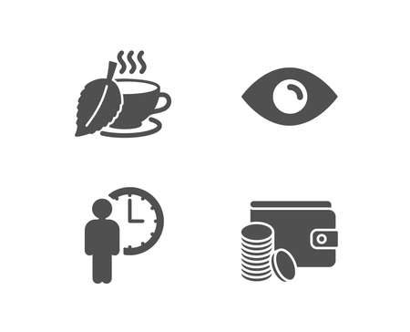 Set of Mint tea, Eye icons, Payment method sign,   and Service time