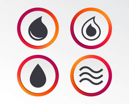 Water drop icons. Tear or Oil drop symbols.
