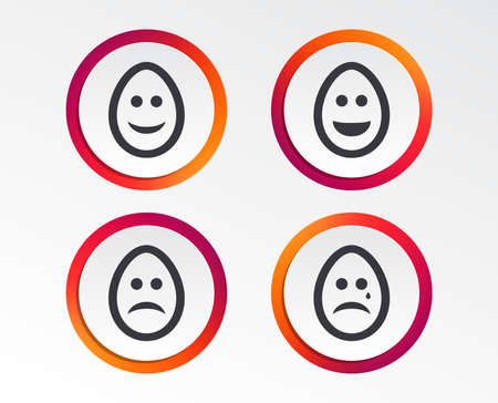 Eggs happy and sad faces icons. Crying smiley with tear symbols.